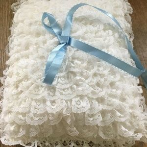 Vintage Ring Bearer Pillow lace top blue ribbon